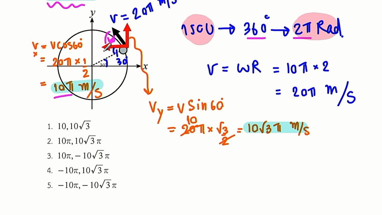 ฟิสิกส์ : ติวข้อสอบ การเคลื่อนที่แบบวงกลม
